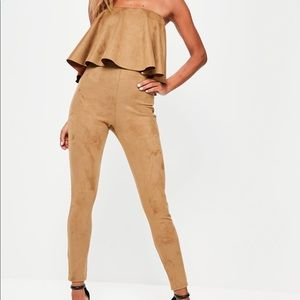 Off the Shoulder Brown Jumpsuit